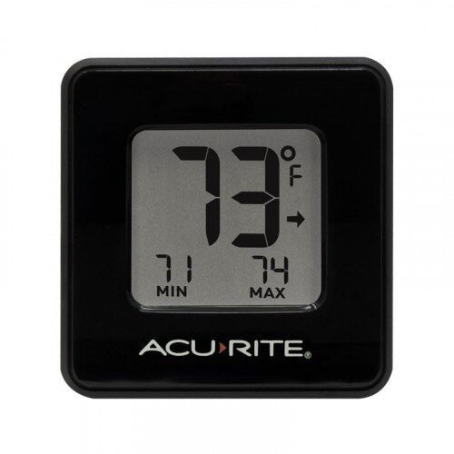 AcuRite Compact Indoor Thermometer with High and Low Records - Black