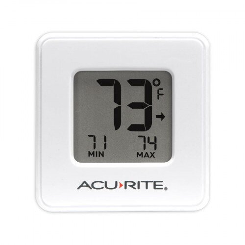AcuRite Compact Indoor Thermometer with High and Low Records - White