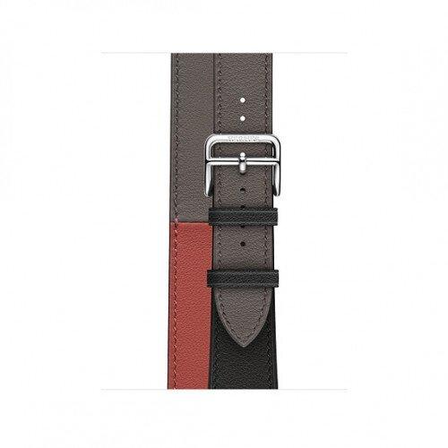 Apple Watch Hermes 40mm Swift Leather Double Tour - Noir/Brique/Etain