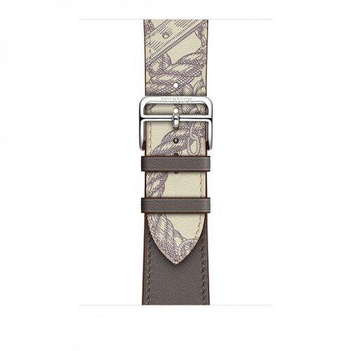 Apple Watch Hermes Swift Leather Single Tour - 44mm - Etain/Beton
