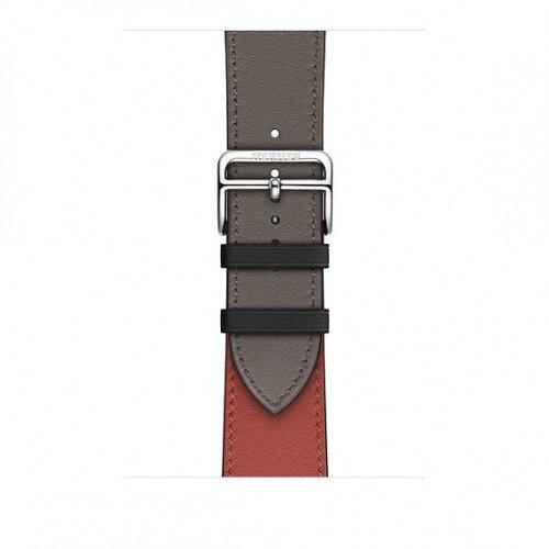 Apple Watch Hermes Swift Leather Single Tour - 44mm - Noir/Brique/Etain
